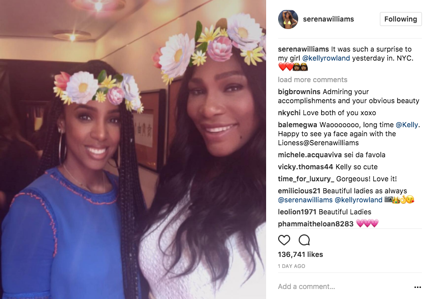 "Serena and Kelly Rowland met up in NYC--Serena posted this photo on Instagram with caption ""It was such a surprise to my girl @kellyrowland yesterday in. NYC. """
