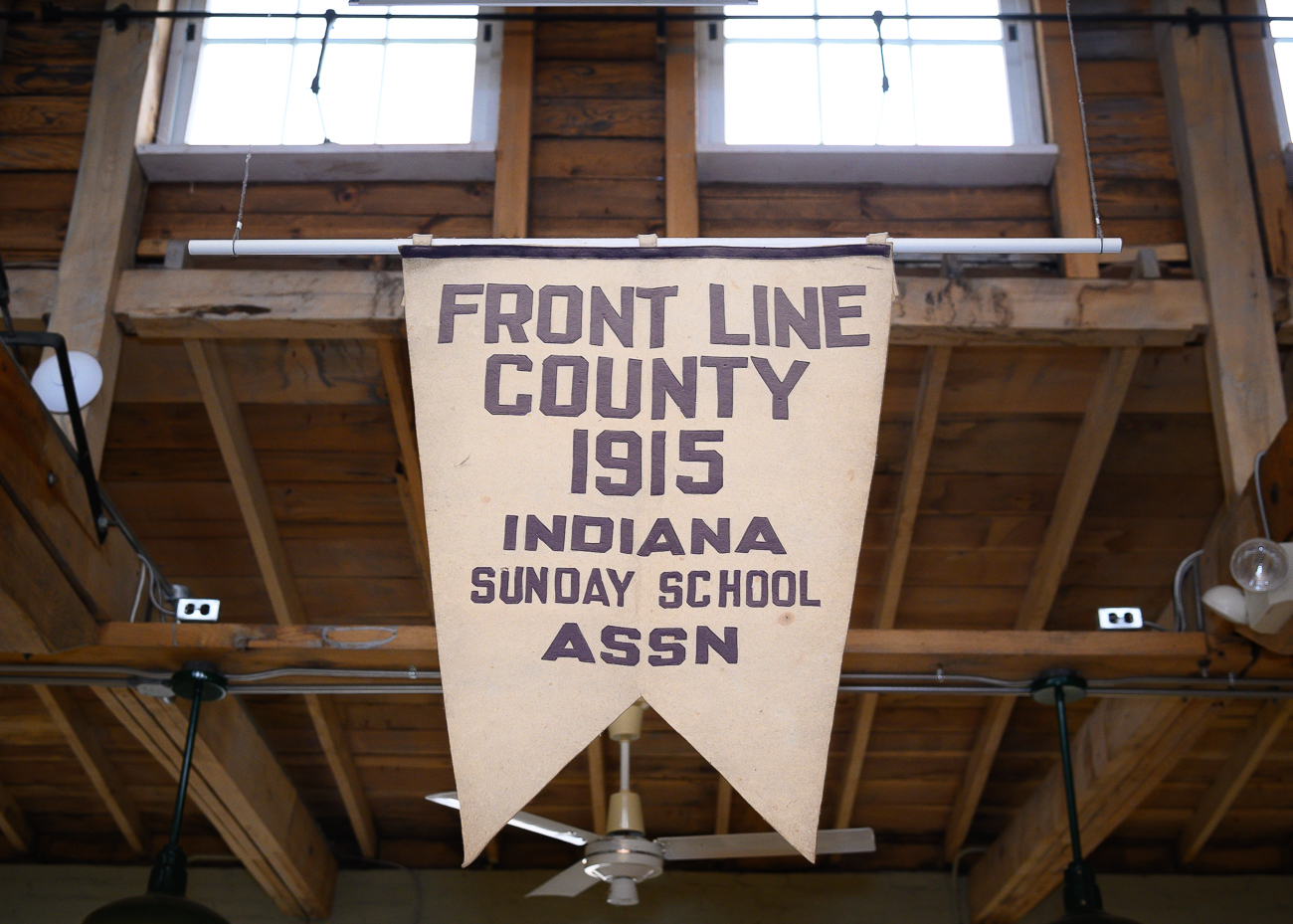 A banner that hangs from the clerestory in the Siekman Gallery / Image: Phil Armstrong, Cincinnati Refined // Published: 1.7.20