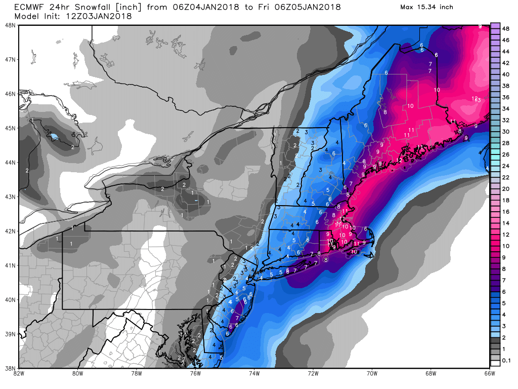Euro model shows predicted 24 hour snowfall totals across New England between Thursday and Friday morning. (Via WeatherBell.com)<p></p>