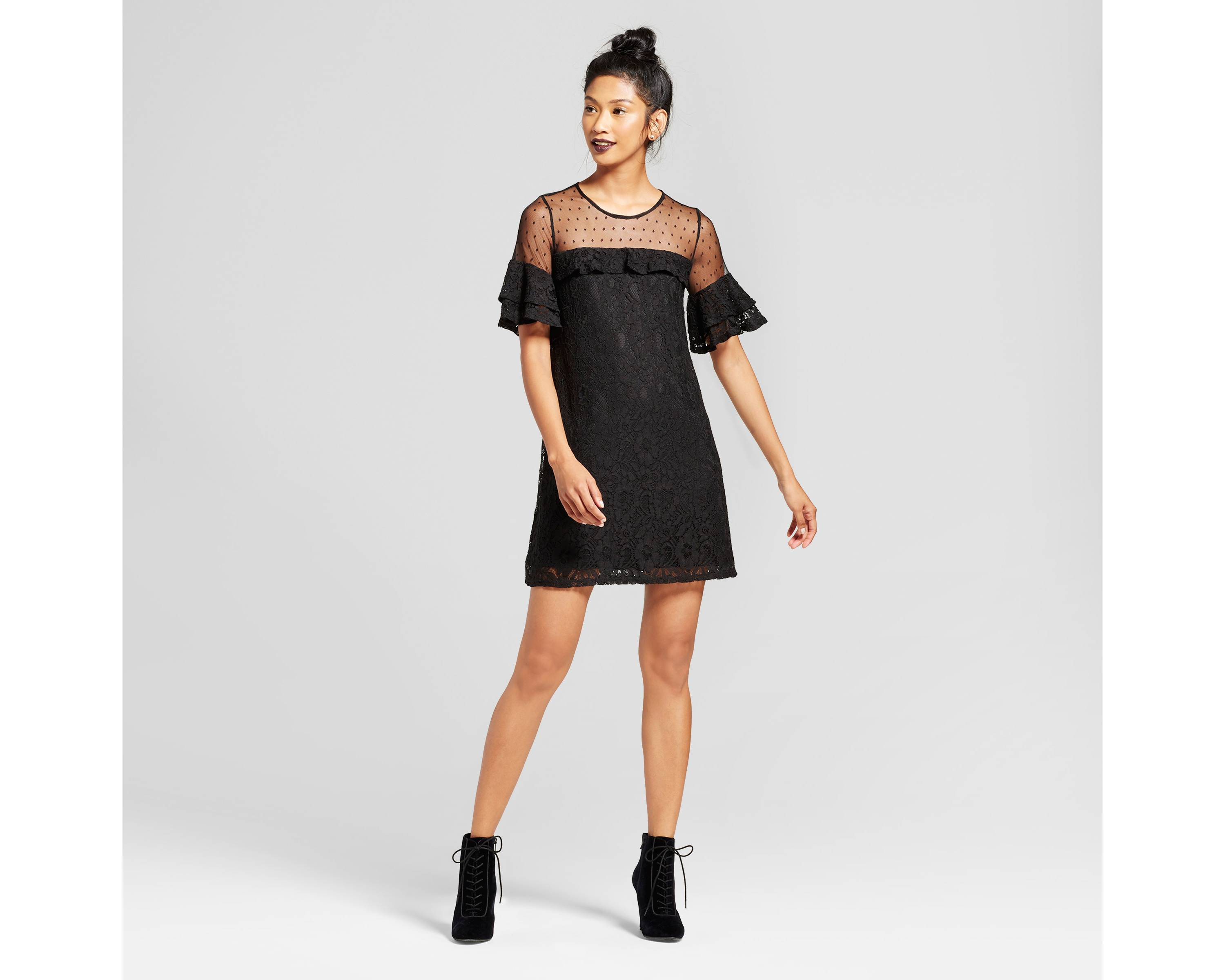 Women's Lace Illusion Dot Dress{&amp;nbsp;} - $32.99. There's no need to break the bank with this Lace Illusion Dot Dress.{&amp;nbsp;} If its a bit cold out, pair with black tights and heels. (Image: Target)<p></p>