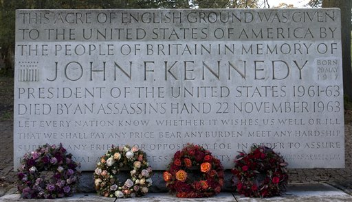 Wreaths laid at the JFK memorial at Runnymede, England.