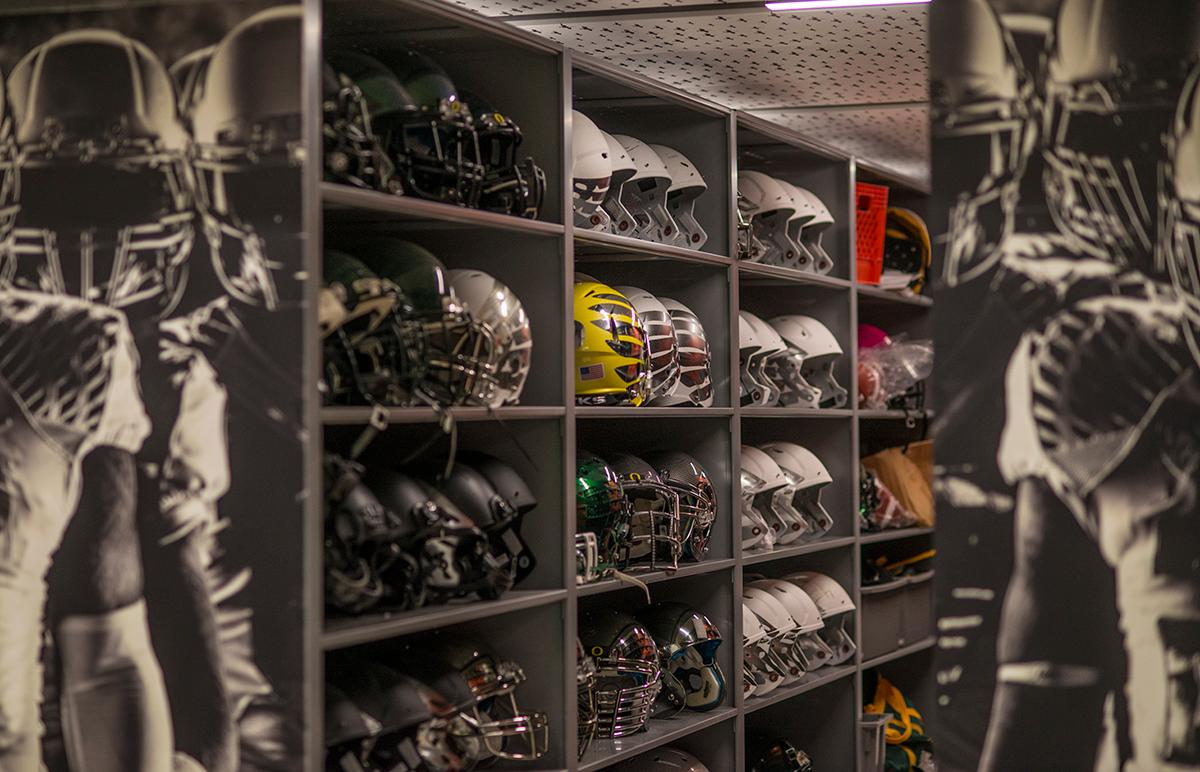 The Marcus Mariota Performance Center houses the largest instillation of space saver shelves in the United States. Lined up together the shelves would reach nearly two and a half miles long.