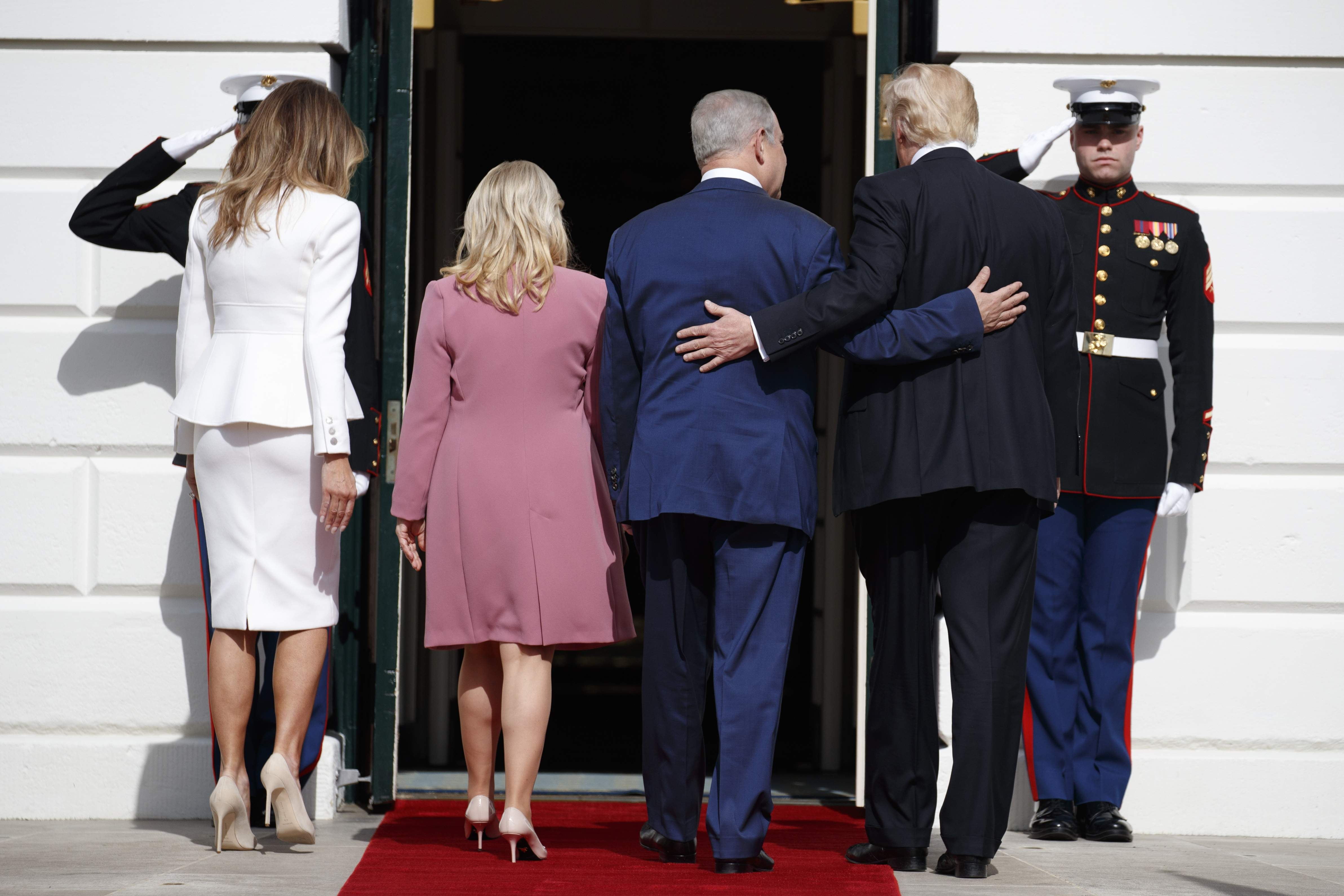 DAY 27 - In this Feb. 15, 2017, file photo, President Donald Trump, first lady Melania Trump, Israeli Prime Minister Benjamin Netanyahu and his wife Sara walk into the White House in Washington. (AP Photo/Evan Vucci, File)