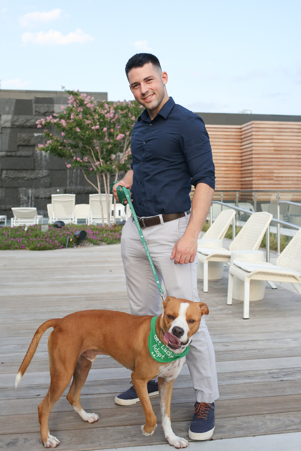 Meet Presley and Andrew, a 2-year-old Boxer mix and a 27-year-old human respectively. Photo location: 880 P apartments (Image: Amanda Andrade-Rhoades/ DC Refined)