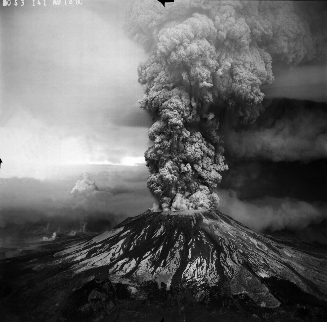 The mountain went from 9,677 to 8,364 feet tall in an instant.All told, 57 people died or disappeared.The smoke plume climbed 60,000 feet in the air. The debris filled 24 square miles of valley. (Robert Krimmel/USGS)