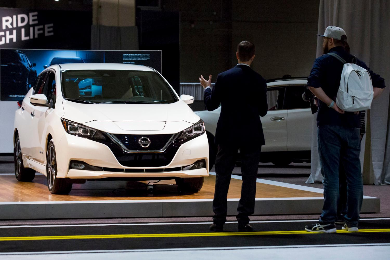 The 2018 Nissan Leaf, with a range of 150 miles, at the Seattle International Auto Show at the CenturyLink Event Center. (Sy Bean / Seattle Refined)