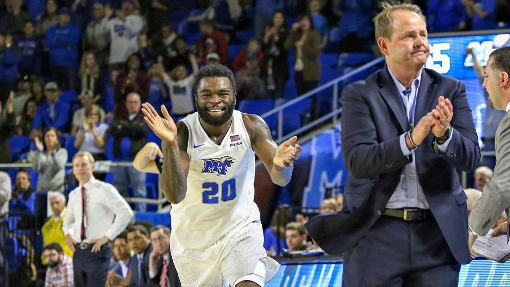 Giddy Potts and head coach Kermit Davis celebrated Middle Tennessee's first national ranking  this week. The Blue Raiders were 25th in the USA Today Coaches Poll. (Photo courtesy MTSU Athletics)