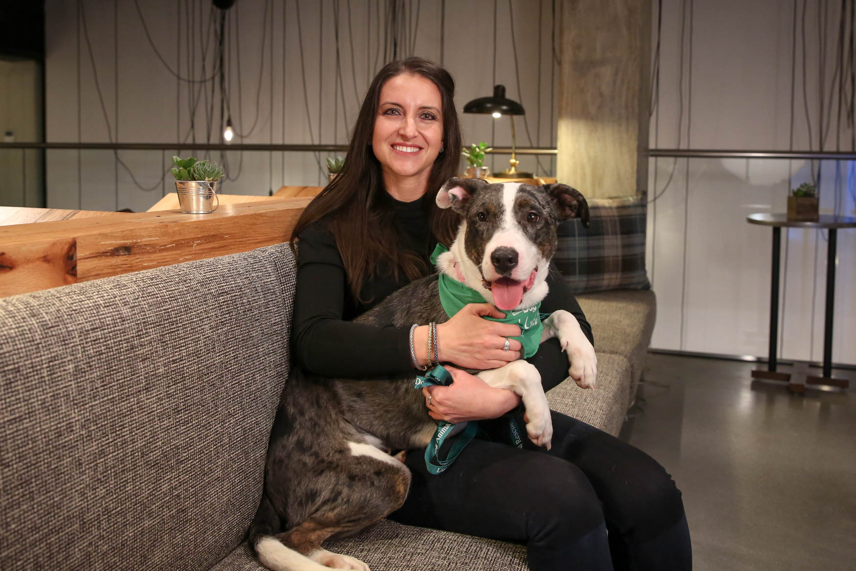Meet Jenna and Julie, a 1-year-old Catahoula Leopard Dog mix and a 37-year-old human respectively. Photo location: Moxy Washington, D.C. Downtown (Image: Amanda Andrade-Rhoades/ DC Refined)