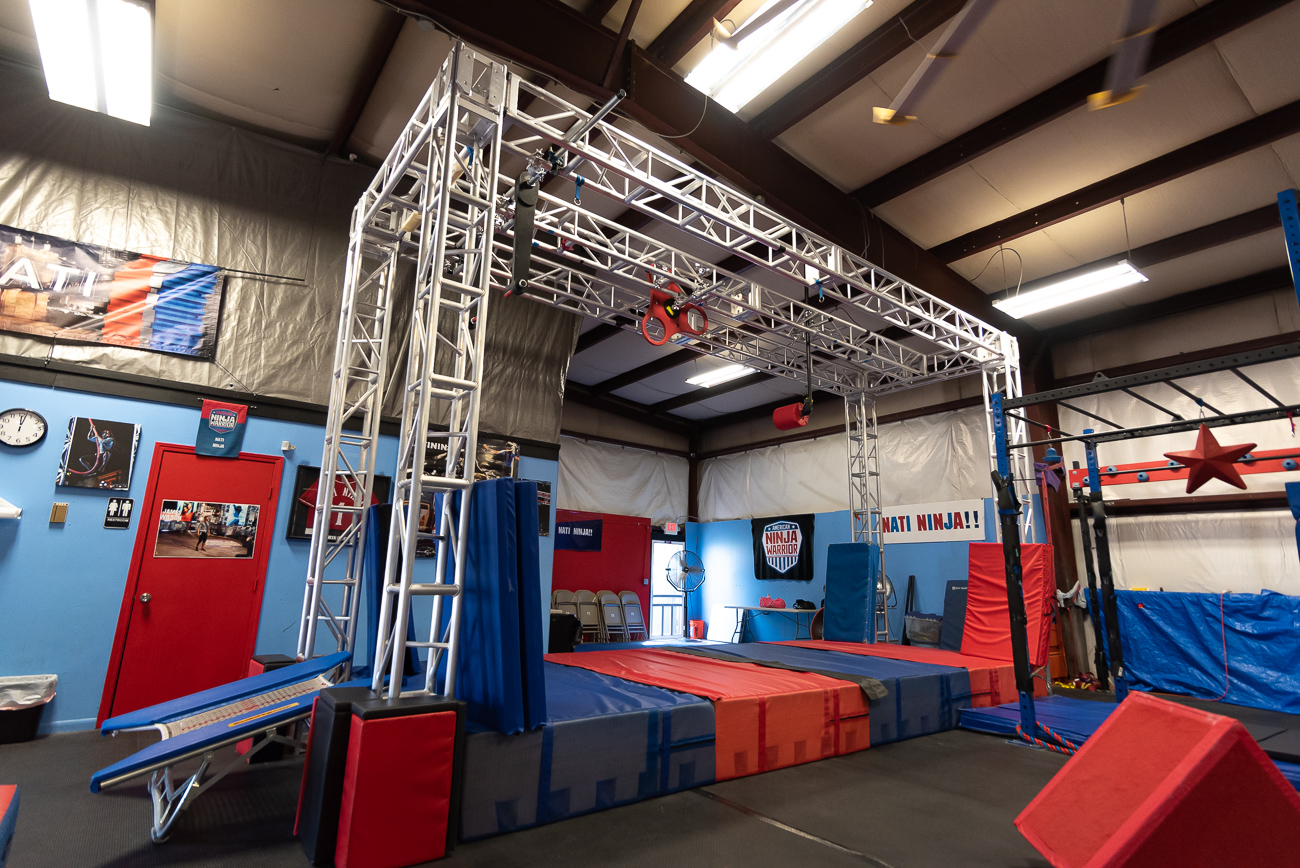 Among the newest additions to Nati Ninja is a large truss—a common feature of ANW courses. With the new truss and the versatility it affords, challengers familiarize their bodies with how the show will feel if they make it into the lineup.{ }/ Image: Phil Armstrong, Cincinnati Refined // Published: 9.18.19
