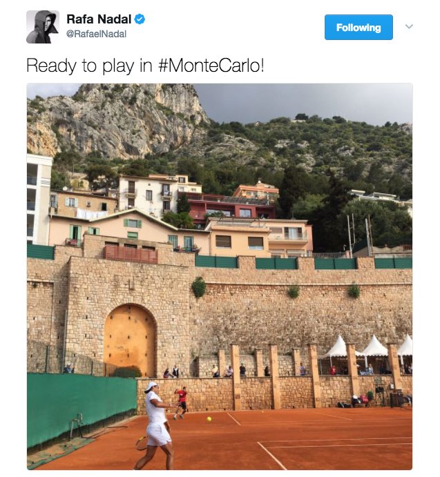 Rafael Nadal shares a photo on Twitter indicating that he's ready to play in Monte Carlo. Nadal will face Goffin in the semifinals of the Monte Carlo Rolex Masters on Saturday.