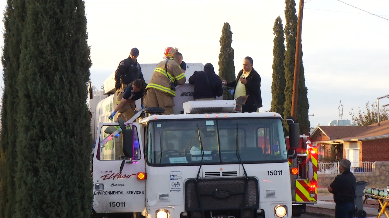 Crews with the El Paso Fire Department worked to rescue man thrown into dump truck Tuesday, dec. 26, 2017. (Crredit: KFOX14/CBS4)