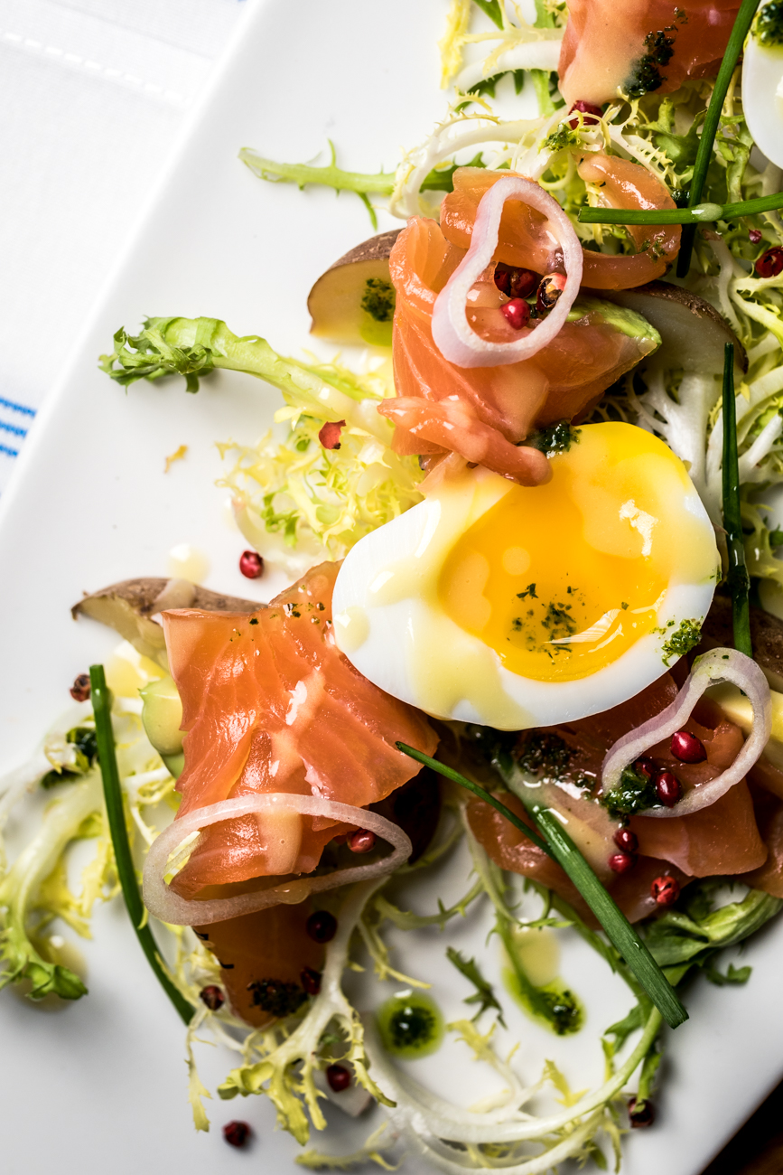 Citrus Cured Scottish Salmon: three minute egg, fingerling potatoes, and avocado / Image: Catherine Viox{ }// Published: 1.23.20