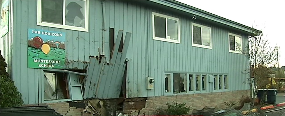 A Eugene school closed after police say a driver crashed into the building, Dec. 4, 2017. (SBG)