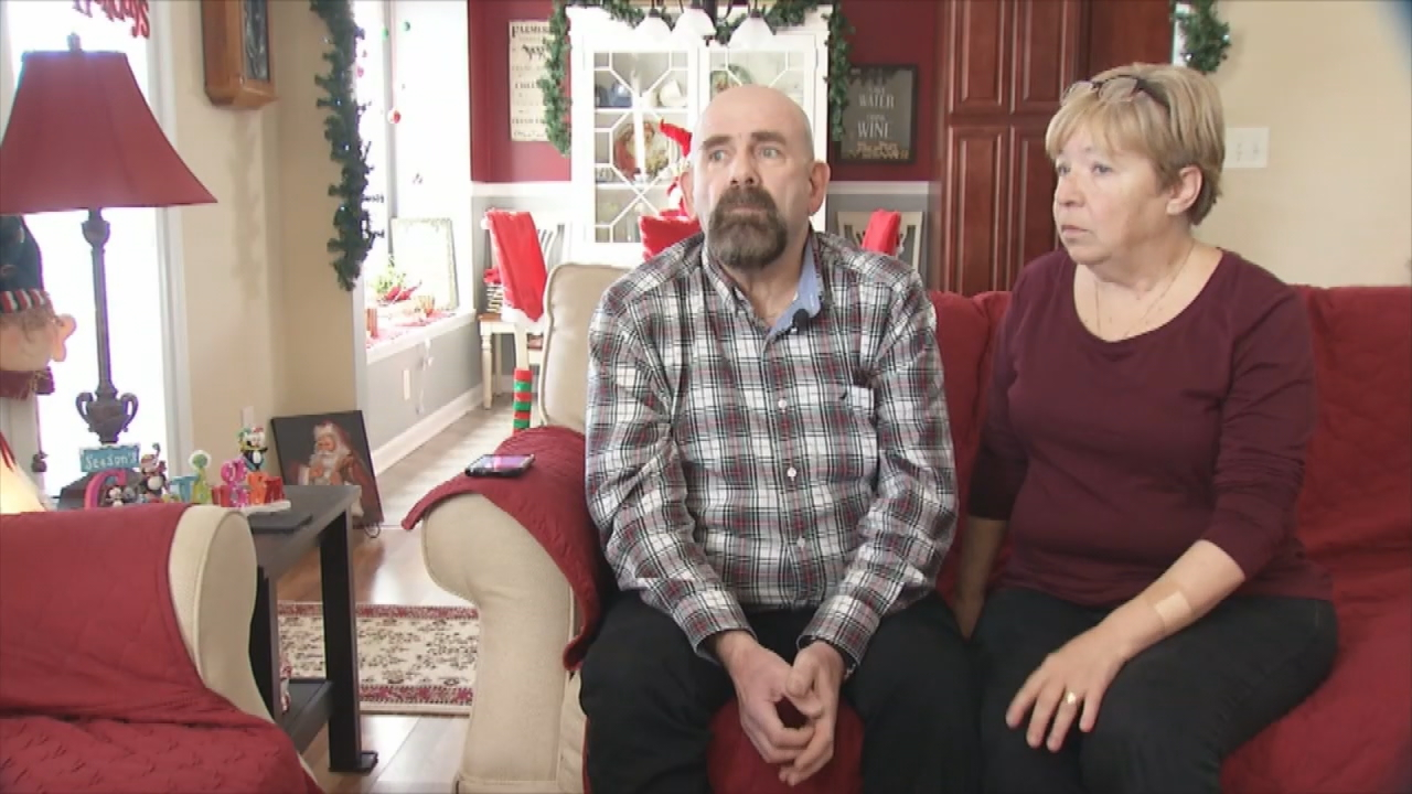Richard and Linda Goodall, who live in the River Stone subdivision in Fletcher, said company officials have apologized for the outage but have done nothing to explain why their TV and internet service is down. (Photo credit: WLOS staff)