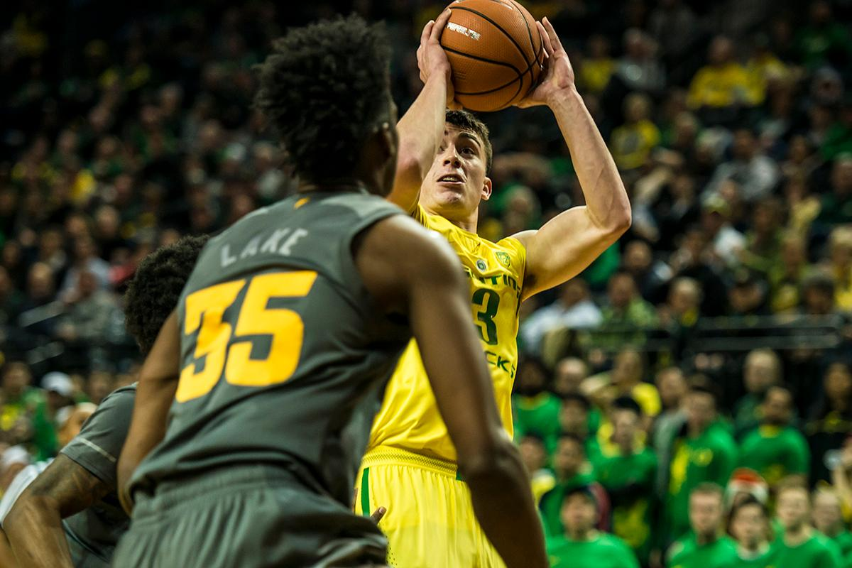 Oregon's Payton Pritchard (3) shoots for three against ASU Thursday night at Matthew Knight Arena. Oregon defeated ASU 75-68 to improve their season record to 18-10 (8-7 PAC-12). The Ducks face off against fourteenth ranked Arizona for their final home game of the season at Matthew Knight Arena on Saturday. (Photo by Colin Houck)