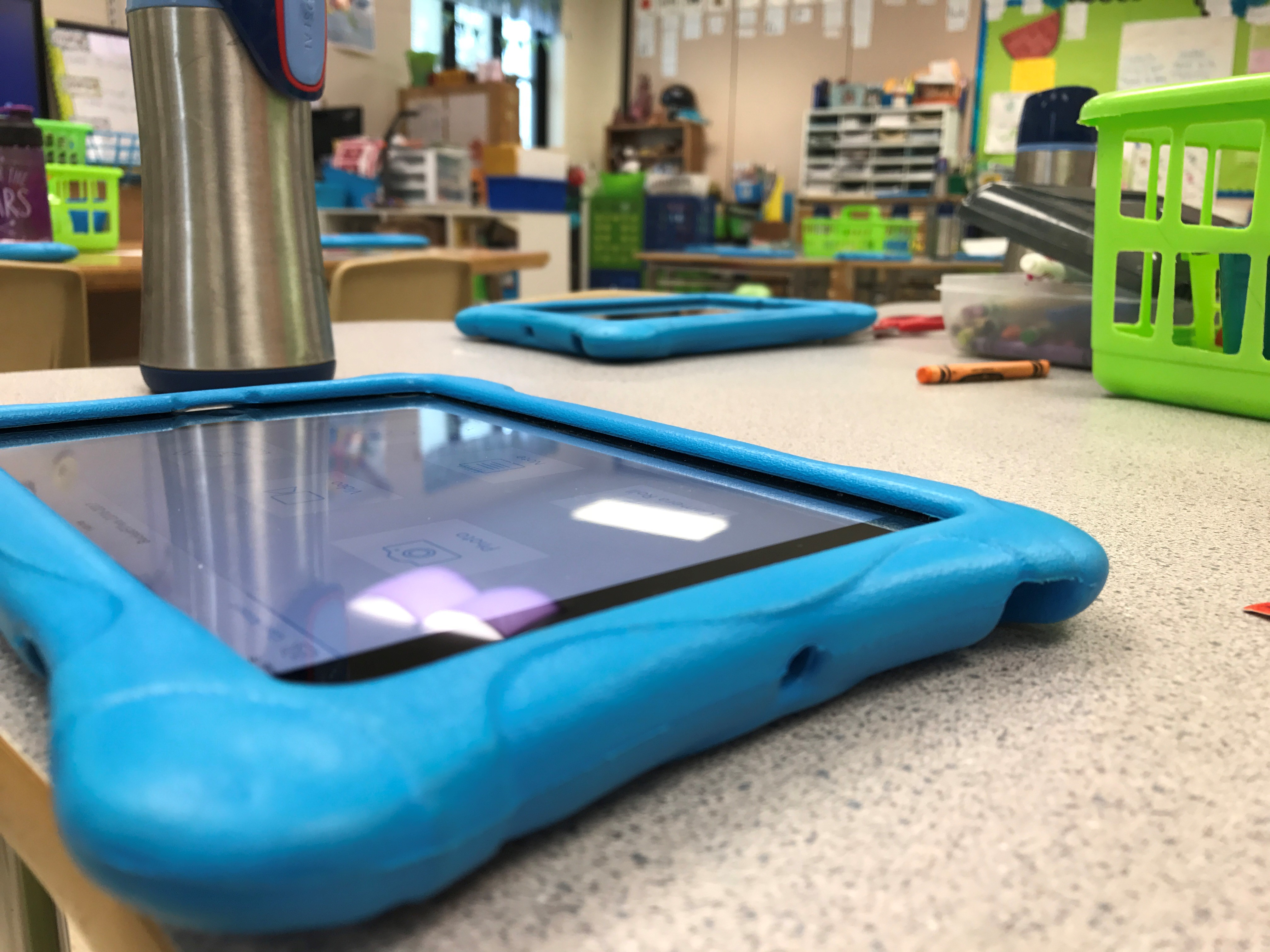 iPads sit quietly in Michelle Flicek's class before students return from recess. (WLUK/Gabrielle Mays)