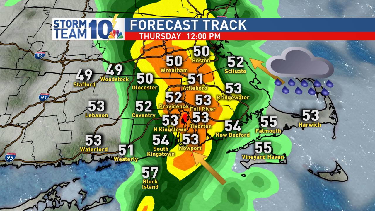 Showers and storms pass through Thursday around noon
