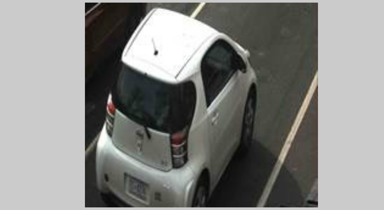 McCauley's white, Toyota Scion: D.C. Licence Plate Number - FC0274 (Photo Courtesy of Metropolitan Police Department)