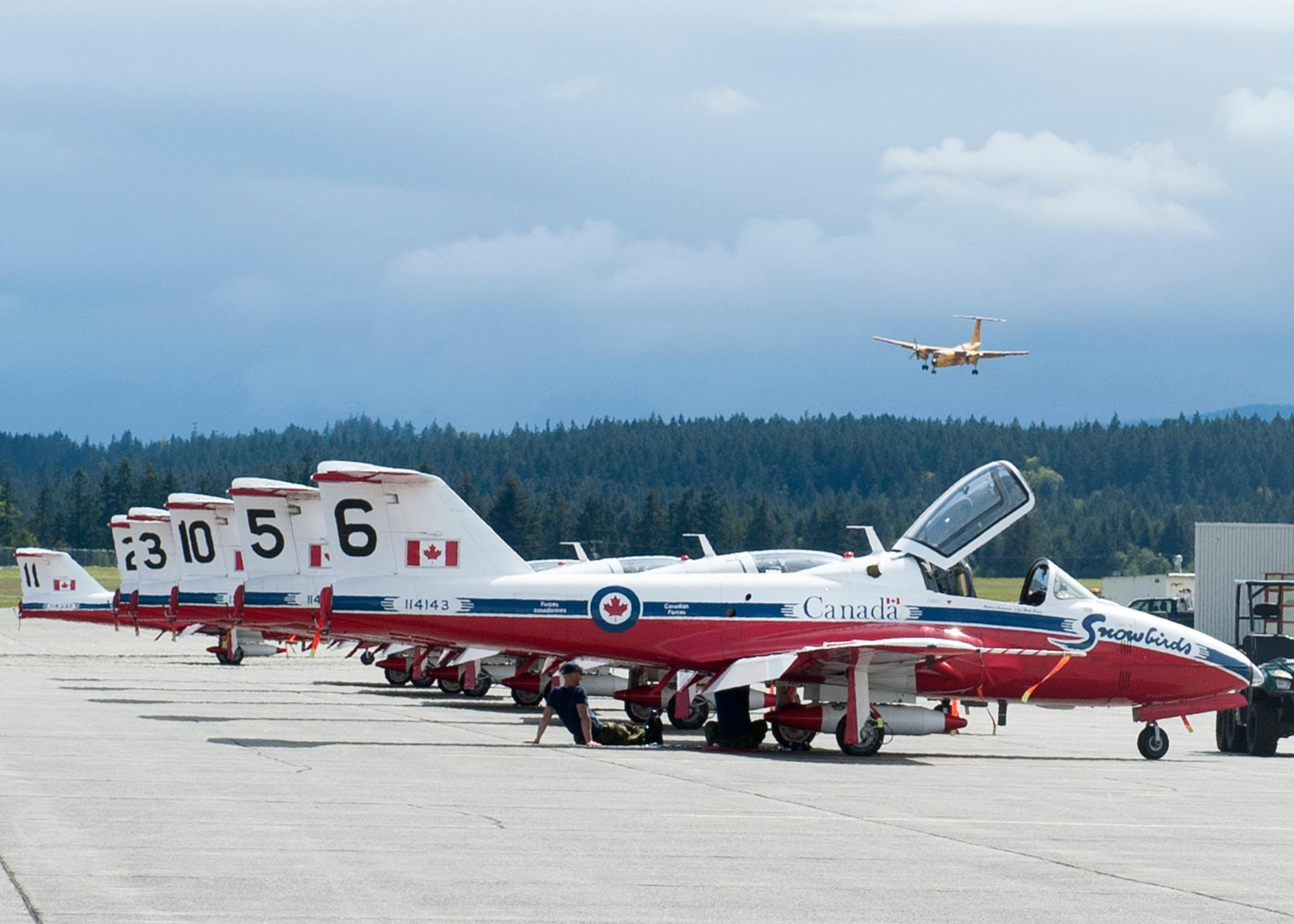 CX2015-0110-18CT-114 Snowbirds sit on the tarmac as a CT-115 Buffalo aircraft  lands at 19 Wing Comox.The Canadian Armed Forces (CAF) Snowbirds (431 Air Demonstration Squadron) and The CAF CF-188 Hornet Demonstration Team are deployed to 19 Wing Comox, British Columbia, to complete training prior to the start of the 2015 Air Show season from the 15 to the 30 April 2015.Image: Sgt Halina Folfas, 19 Wing ImagingCX2015-0110-18Des avions CT-114 Snowbird attendent sur laire de trafic pendant qu'un avion CT-115 Buffalo atterit  la 19e Escadre.Les Snowbirds (431e Escadron de dmonstration arienne) des Forces armes canadiennes (FAC) et l?quipe de dmonstration de chasseurs CF188 Hornet sont dploys  la 19e Escadre Comox (Colombie-Britannique) pour effectuer une sance dentranement avant le dbut de la saison des spectacles ariens 2015, qui aura lieu du 15 au 30 avril 2015.Image: Sgt Halina Folfas, Imagerie de la 19e Escadre