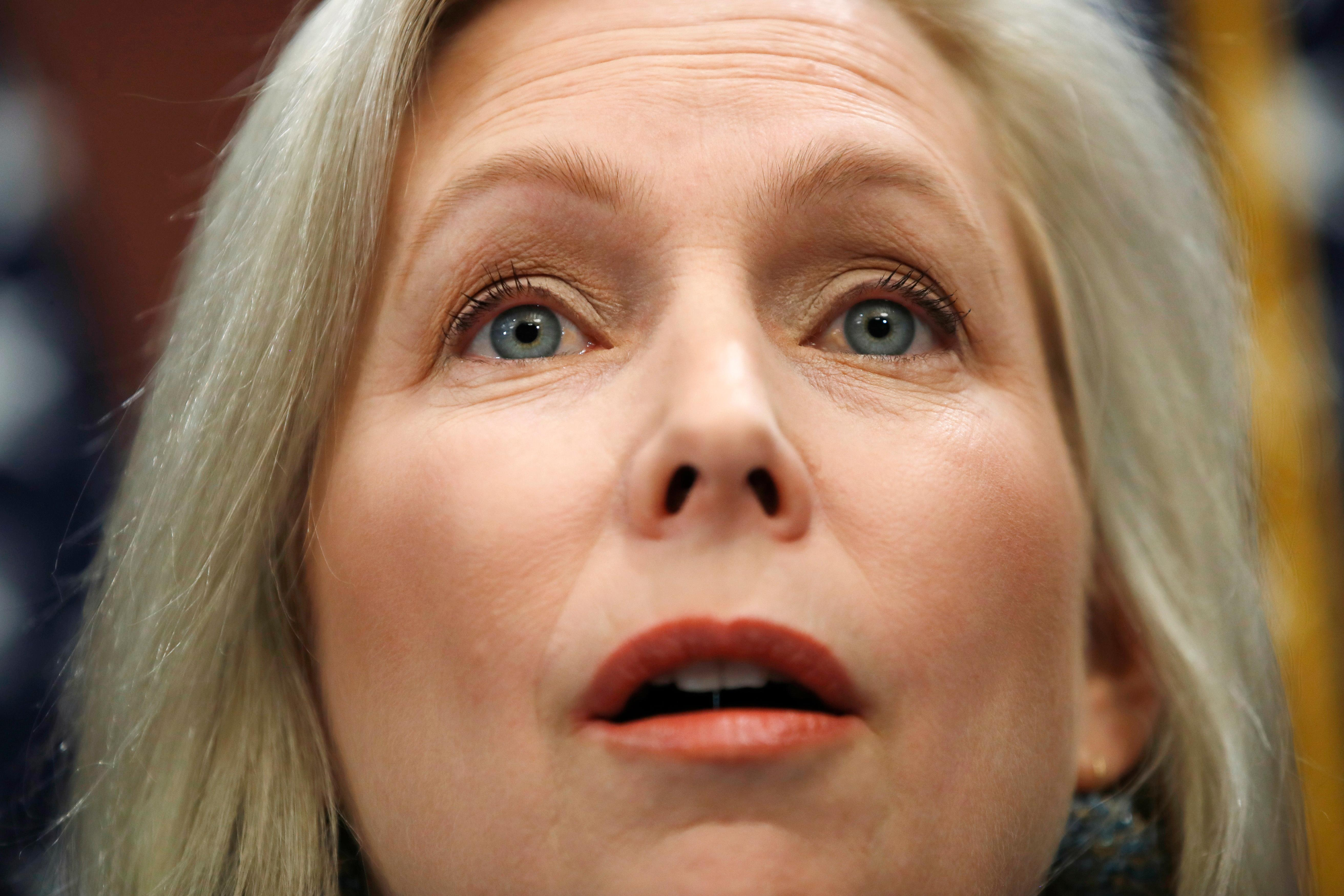 "Sen. Kirsten Gillibrand, D-N.Y., speaks during a news conference, Tuesday, Dec. 12, 2017, on Capitol Hill in Washington. Gillibrand says President Donald Trump's latest tweet about her was a ""sexist smear"" aimed at silencing her voice. (AP Photo/Jacquelyn Martin)"