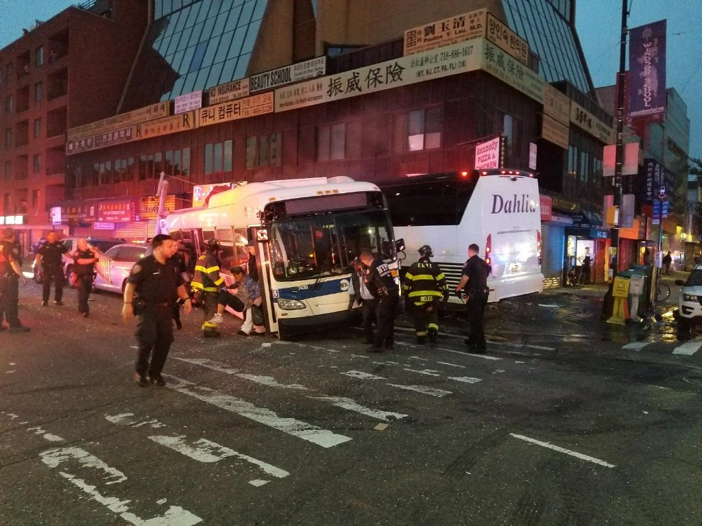 A city bus and a tour bus have collided in Queens, and the Fire Department of New York says 17 people have been hurt, seven of them severely. (New York Police Department)