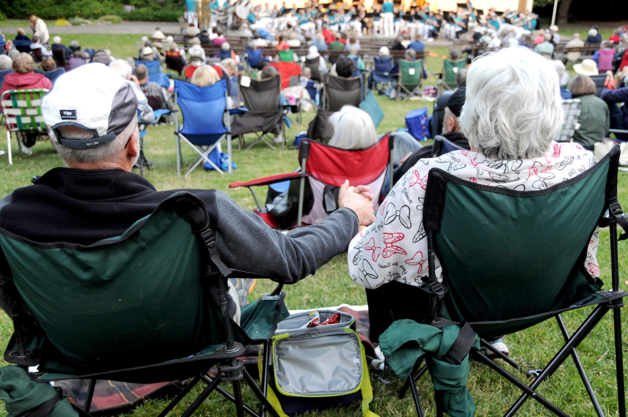 Music lovers Tom and Patti Jacobson of Ashland have been attending concerts in the park for years. (Photo by Jim Flint)
