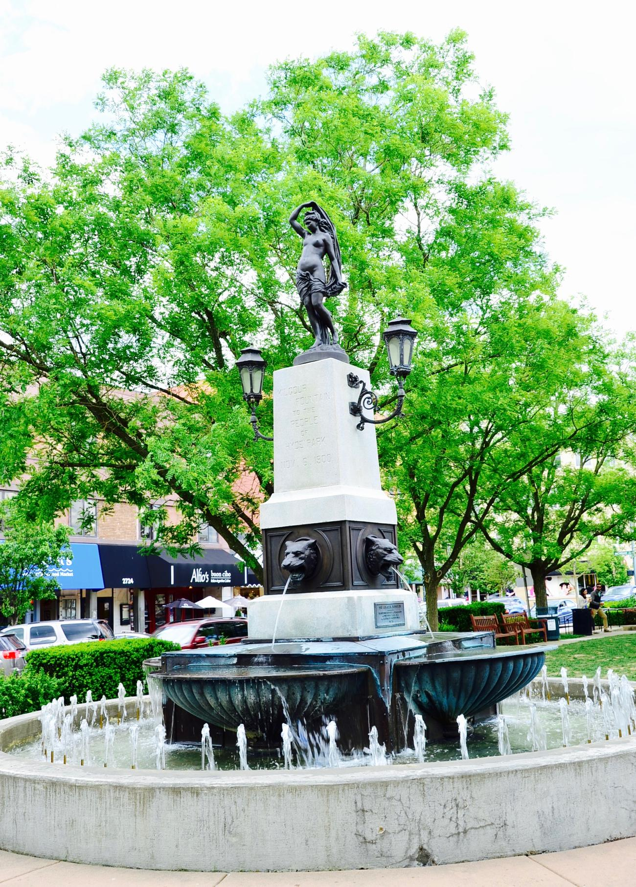 PARK: Hyde Park Square / LOCATION: You know where… / FUN FACT: Charles Kilgour, a local real-estate investor, donated the fountain in 1900. The fountain was designed by Joseph Cronin, featuring a female with four lion-head water spouts. / IMAGE: Leah Zipperstein, Cincinnati Refined // PUBLISHED: 5.8.17