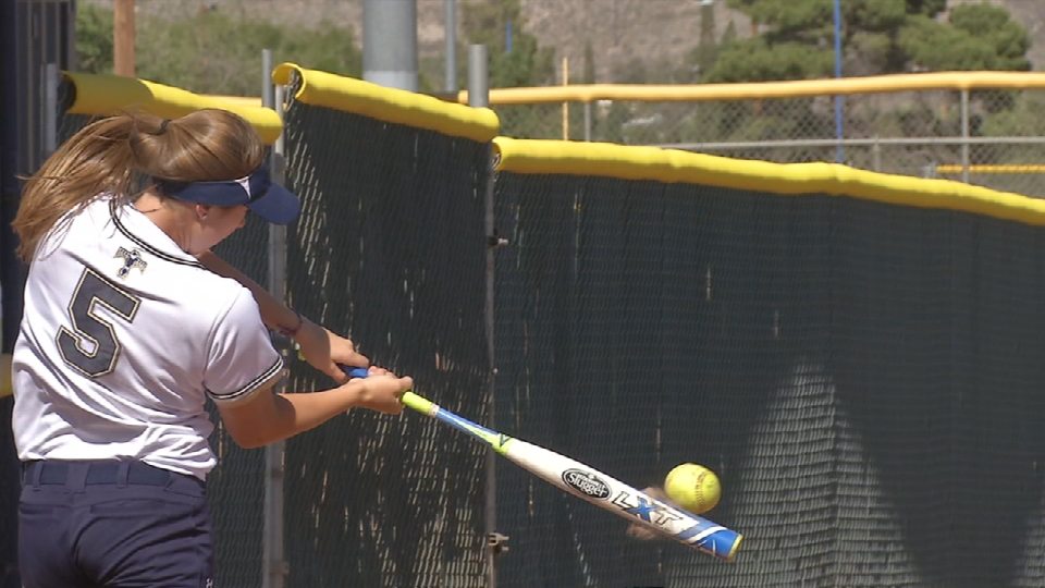 Abigale Carney hits BP at Coronado HS