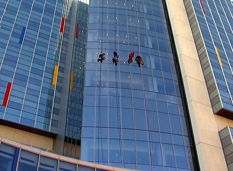 Superhero window washers at Children's of Alabama
