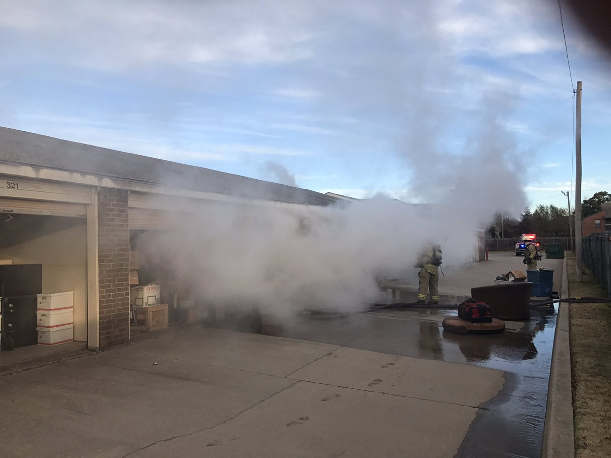 Firefighters battle a blaze at a metro storage facility Dec. 7. (Oklahoma City Fire Department)
