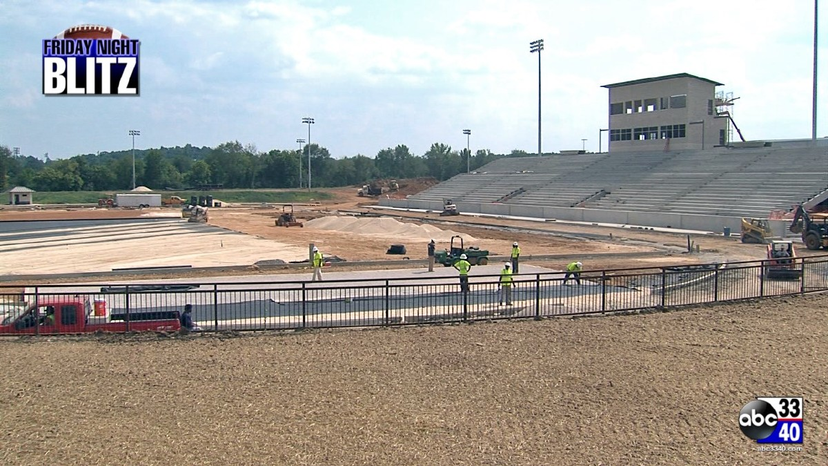 Construction of Hewitt-Trussville's new football stadium.