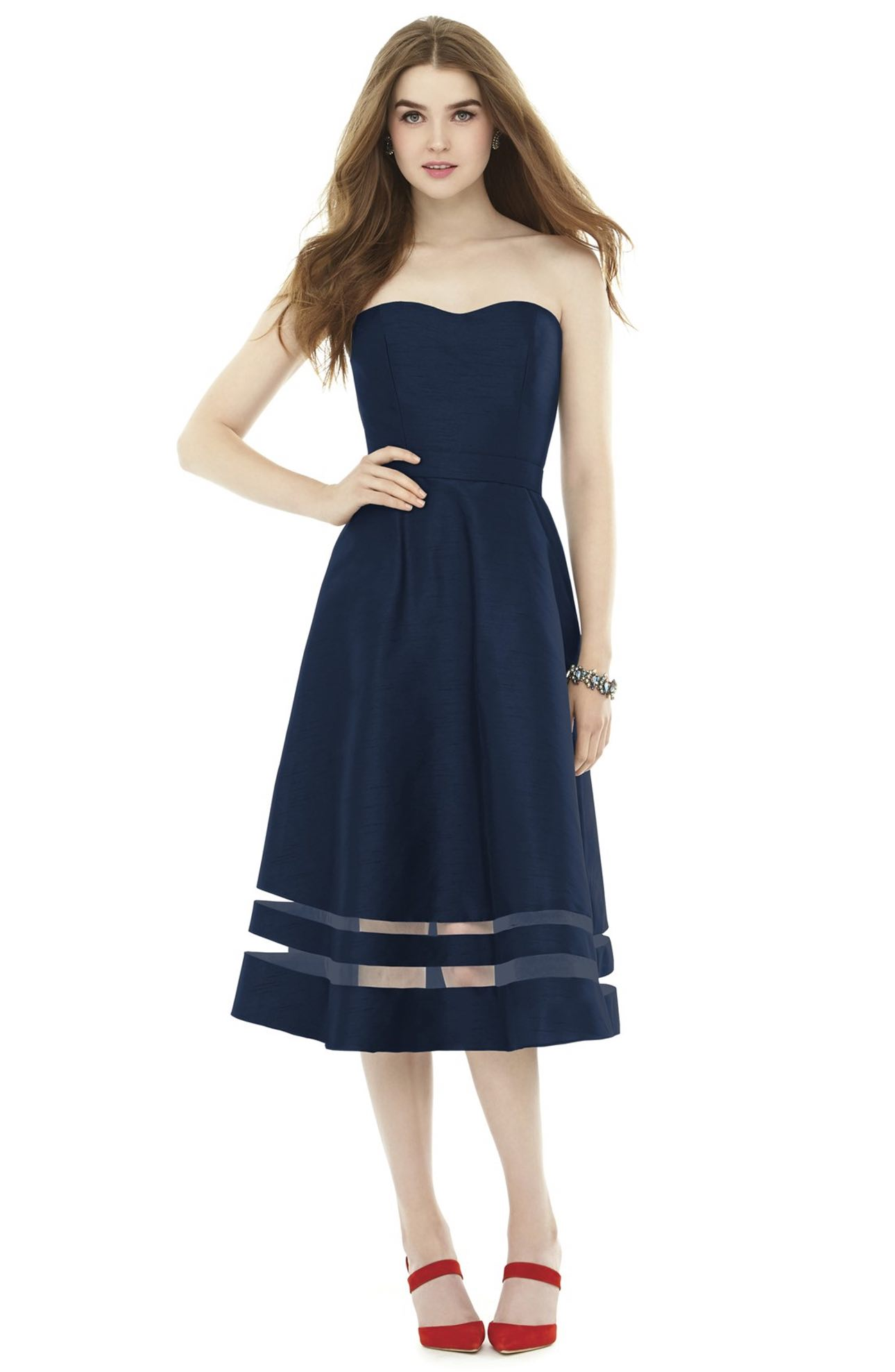 Alfred Sung, Illusion Stripe Strapless A-Line Midi Dress - $198.00. (Image: Nordstrom)