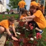 Students planting for Kalamazoo in Bloom