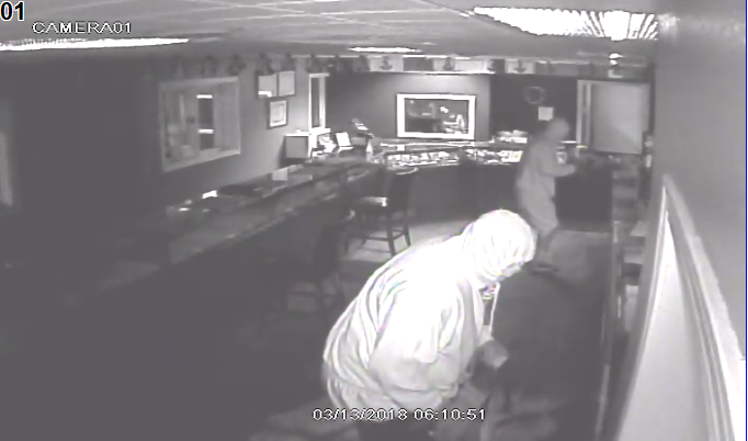 Surveillance images from a burglary at D&M Jewelers in Ashwaubenon, March 13, 2018. (Photo courtesy of Ashwaubenon Public Safety)