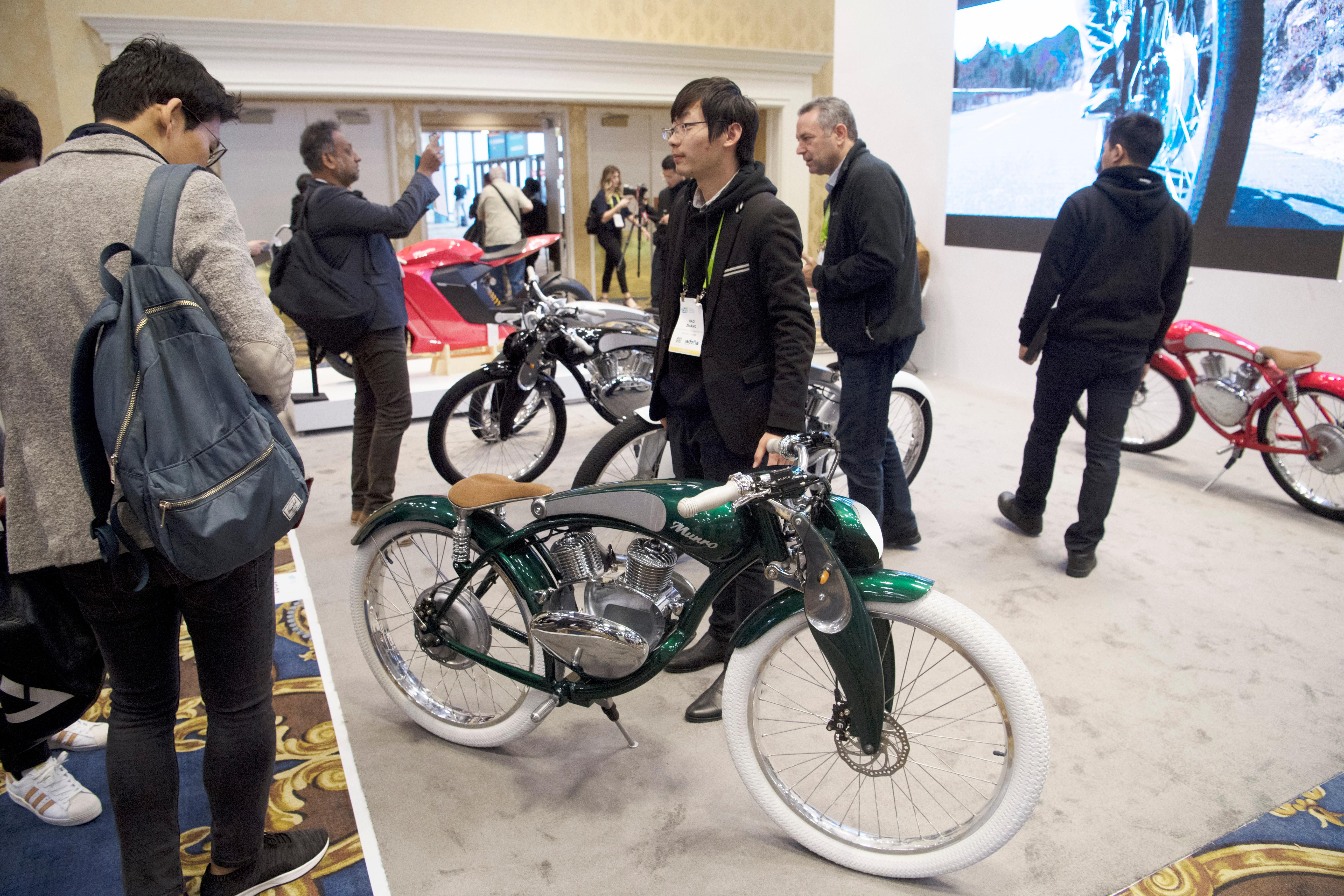 Electric bikes from Munro Motors are seen during the second day of CES Wednesday, January 10, 2018, at the Westgate. CREDIT: Sam Morris/Las Vegas News Bureau