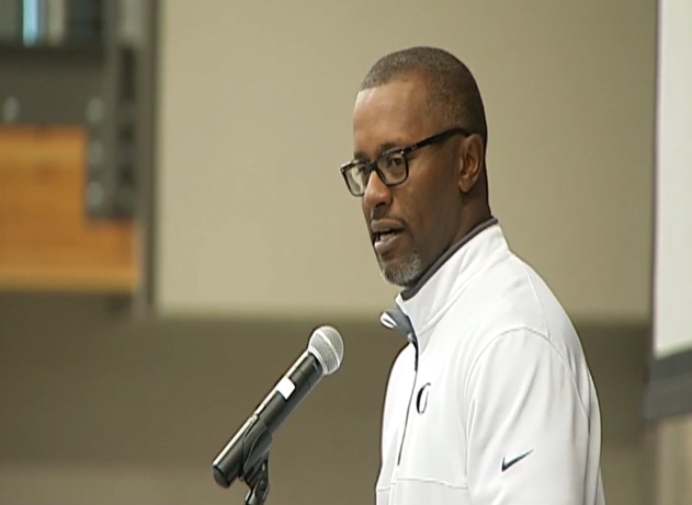 First-year Oregon football coach Willie Taggart gave the keynote speech at the Lunch for KIDS Scholarship Fund event Wednesday. (SBG)