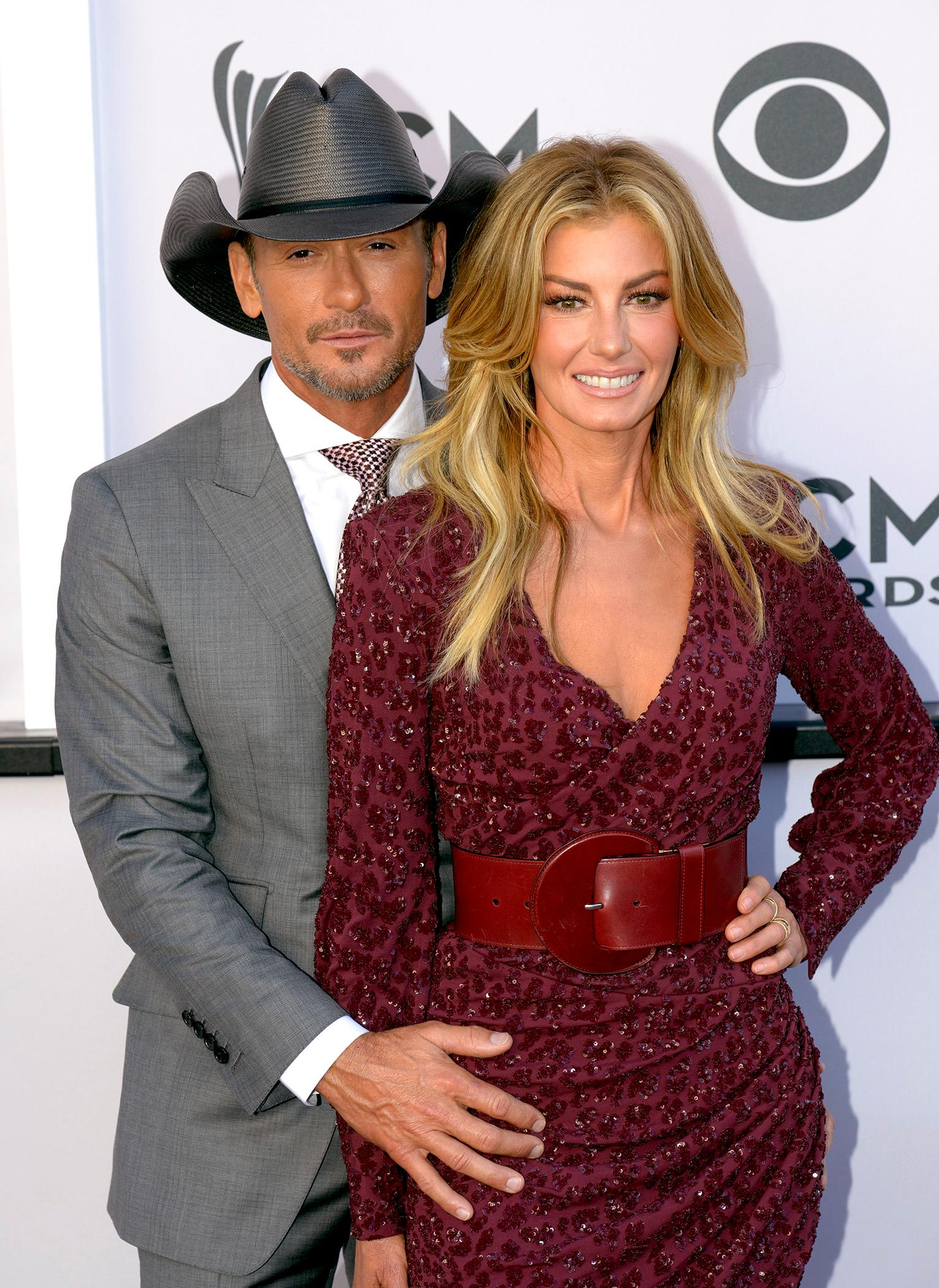 Tim McGraw and Faith Hill walk Academy of Country Music Awards red carpet together at T-Mobile Arena. Sunday, April 2, 2017. (Glenn Pinkerton/ Las Vegas News Bureau)