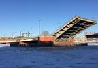 The Ray Nitschke Memorial Bridge on Main Street in Green Bay is stuck open Dec. 27, 2017.