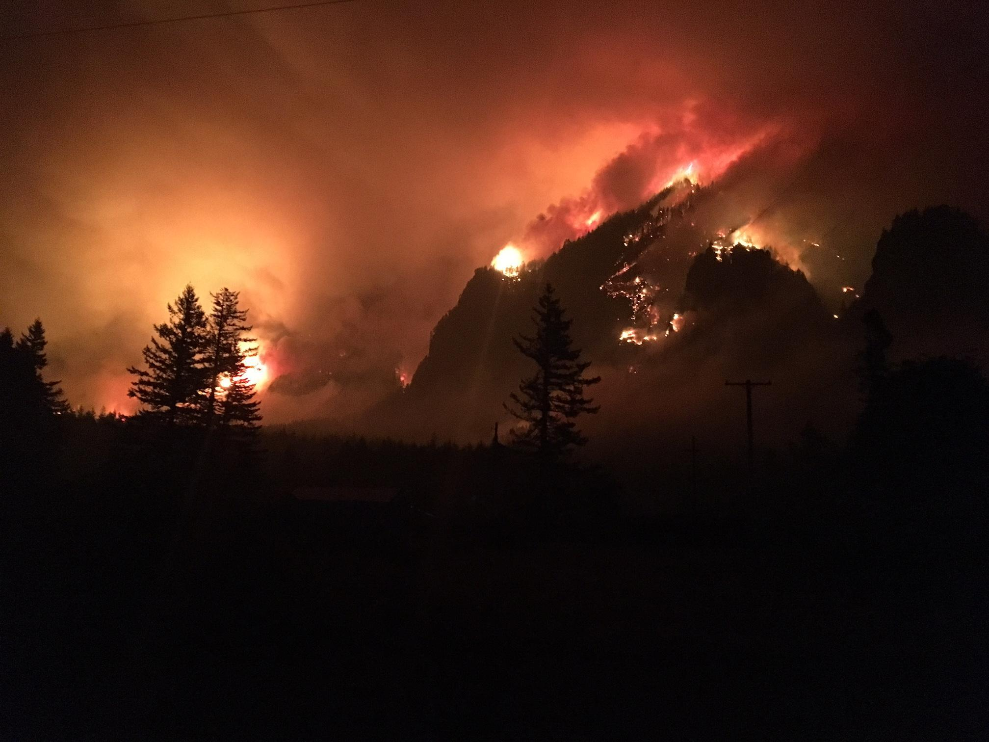 The Eagle Creek Fire burns in the Columbia River Gorge. (Photo: Inciweb)