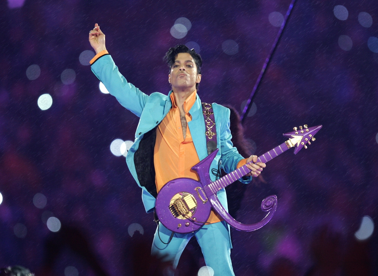 "In this Feb. 4, 2007 file photo, Prince performs during the halftime show at the Super Bowl XLI football game at Dolphin Stadium in Miami. The legendary musician, who rose to superstar status with the 1984 release of ""Purple Rain"", died April 21 at his home in Minnesota. (Photo: AP/Chris O'Meara, File)"
