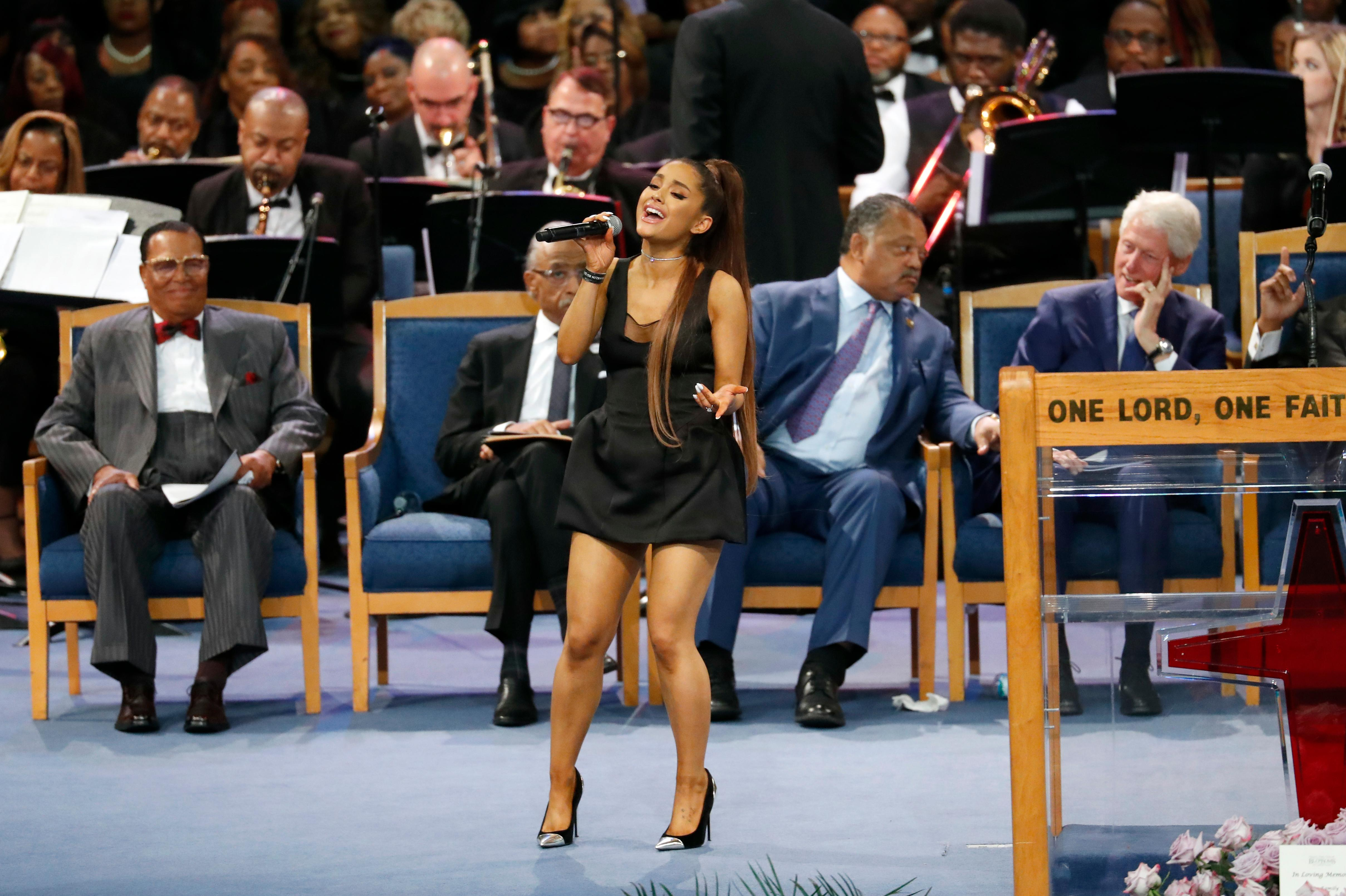 Ariana Grande performs during the funeral service for Aretha Franklin at Greater Grace Temple, Friday, Aug. 31, 2018, in Detroit.(AP Photo/Paul Sancya)