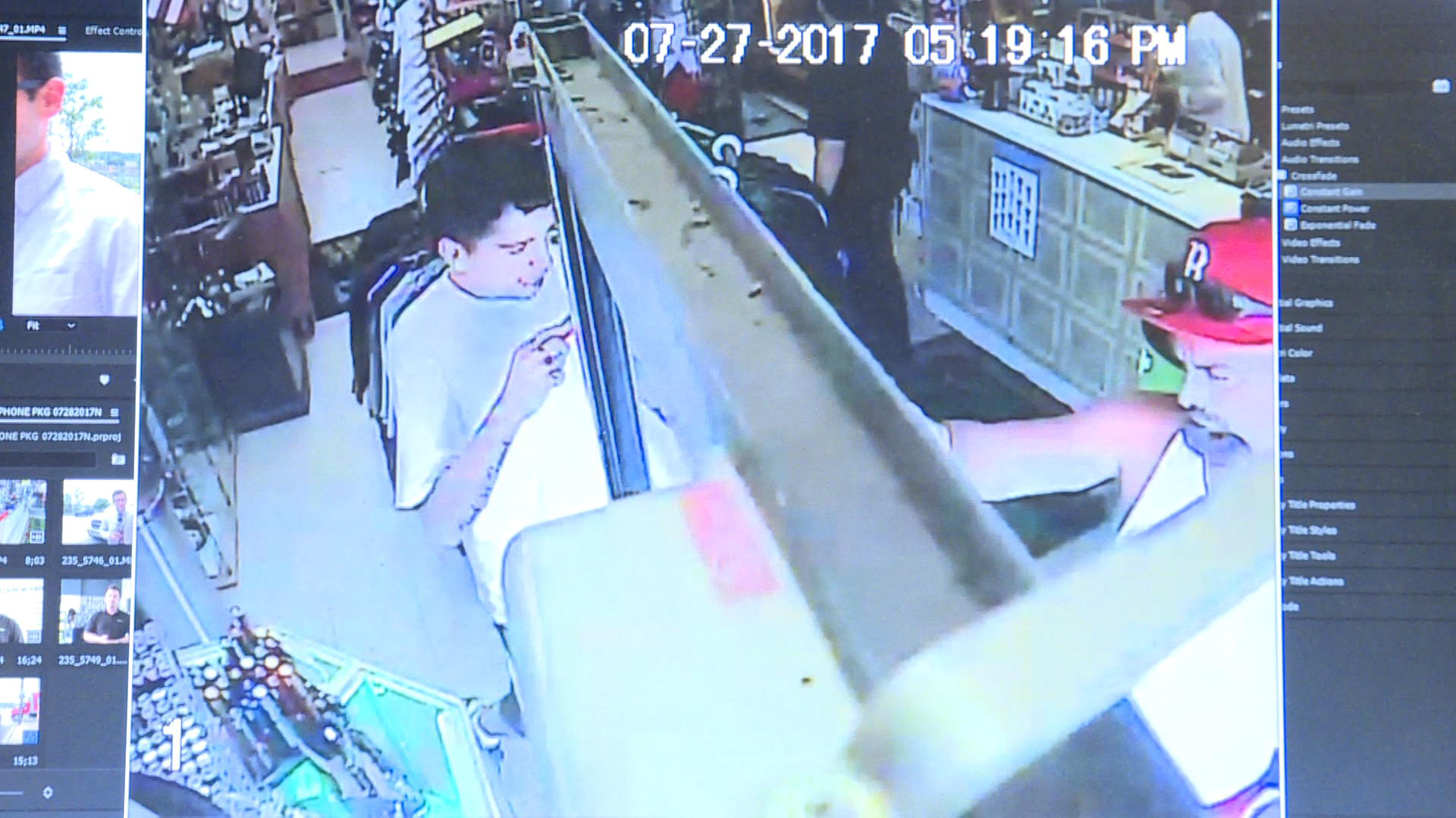 Man now phone-less after crooks swipe it on store camera
