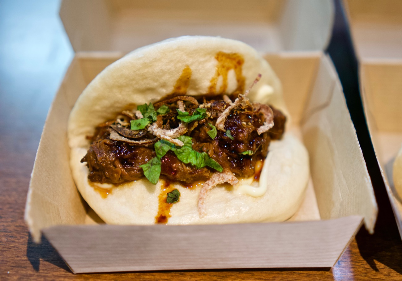 Beef bun: black pepper beef braised for several hours in soy, hoisin, and miring, and served with crispy shallots and shiso / Image: Brian Planalp // Published: 2.11.19
