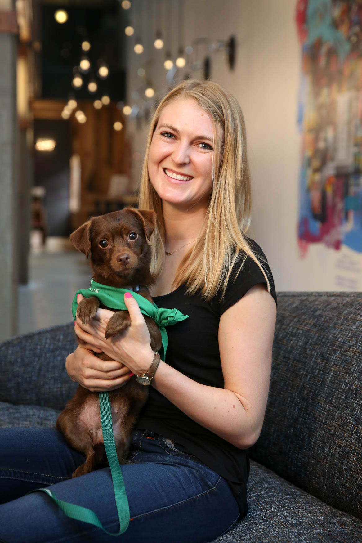 Meet Pistachio and Cami, a 3-year-old Dachshund mix and a 27-year-old human respectively. Photo location: Moxy Washington, D.C. Downtown (Image: Amanda Andrade-Rhoades/ DC Refined)