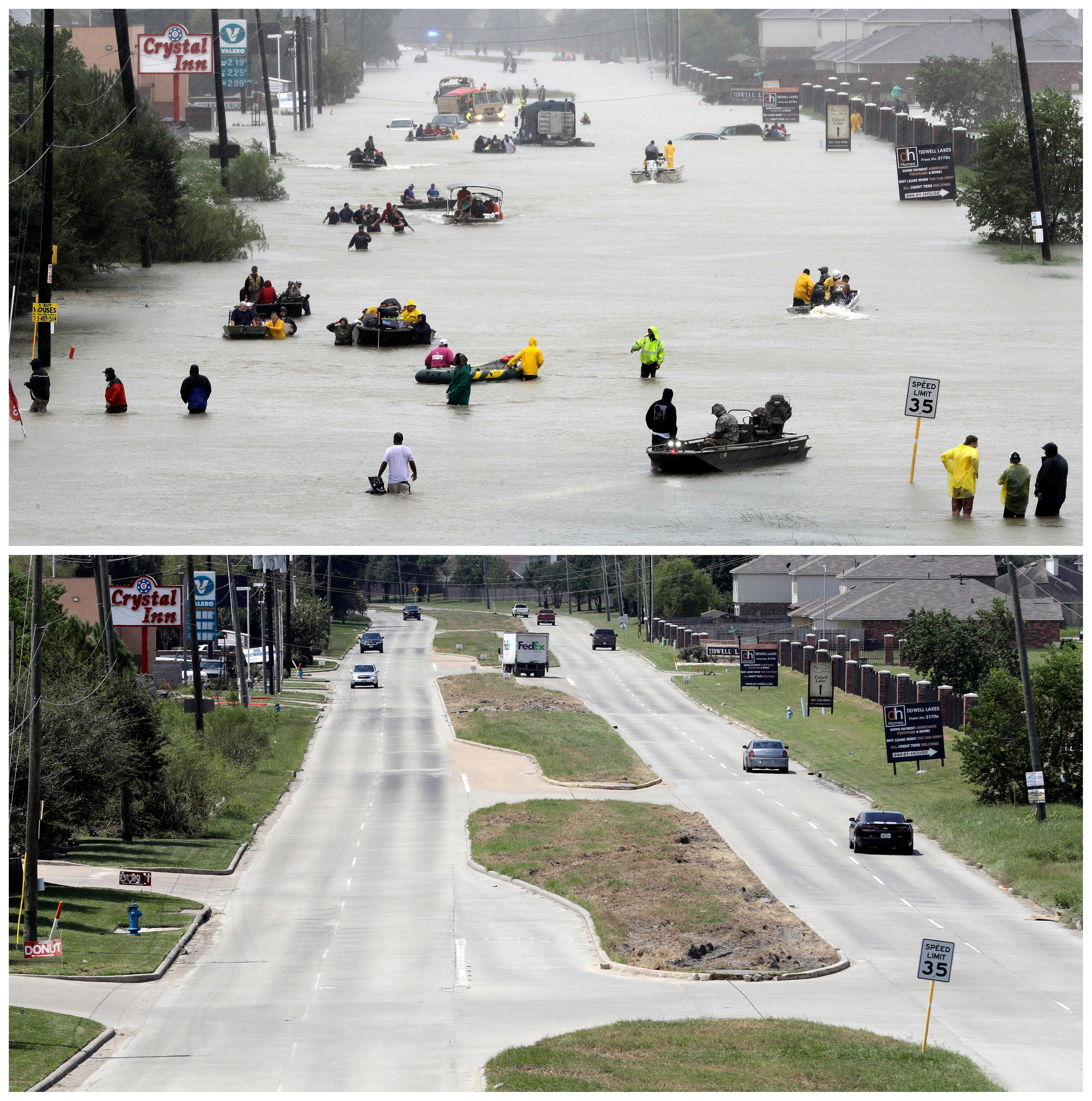 FILE - In this photo combination, rescue boats evacuate people from a flooded street in Houston, on Aug. 28, 2017, top, following Tropical Storm Harvey, and cars drive down the same street on Sept. 5, bottom, after the floodwaters receded. (AP Photo/David J. Phillip, File)
