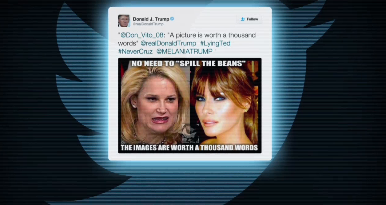 Trump began a Twitter firestorm when he tweeted a comparison between his wife and Ted Cruz's wife, judging them on their looks.