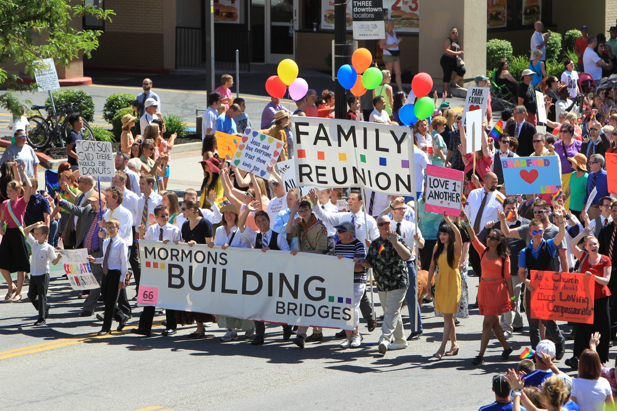 Mormons Building Bridges, a group of LDS supporters of the LGBT community, march in the Pride Parade (Photo: Grace Crosby).