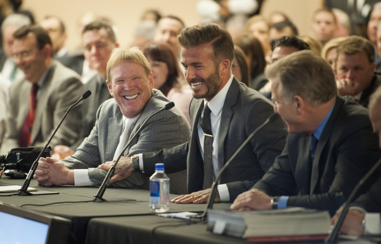 Oakland Raiders owner Mark Davis, from left, and soccer star David Beckham address a meeting of the Southern Nevada Tourism Infrastructure Committee at the Stan Fulton Building, UNLV on Thursday, April 28, 2016. Davis and Beckham talked about the initiative to build a domed stadium in Las Vegas which would attract the NFL, major league soccer and other attractions. (Mark Damon/Las Vegas News Bureau)