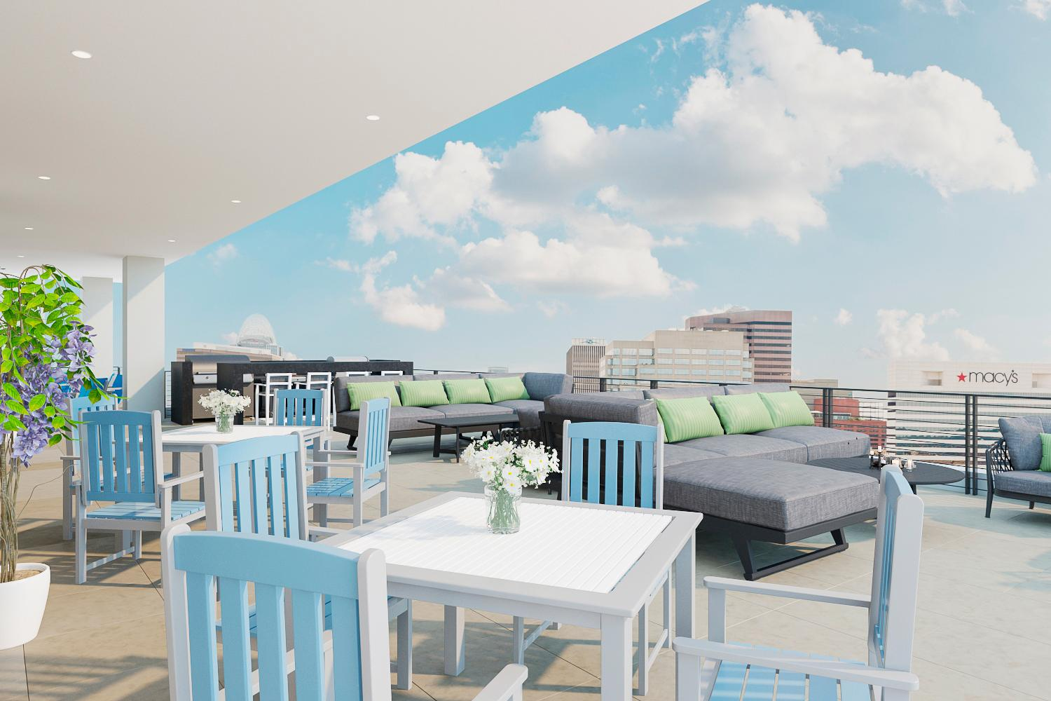 The rooftop will feature a grill, an astroturf green space, a kitchen, and seating. This is a rendering of that space as it's currently under construction. / Rendering by The Oval Room // Published: 9.2.19