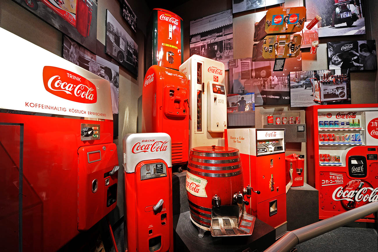 The vintage vending machine display at World of Coca-Cola, one of the city's top attractions. ADDRESS: 121 Baker Street NW, Atlanta, GA (30313)  / Image courtesy of World of Coca-Cola // Published: 4.3.19